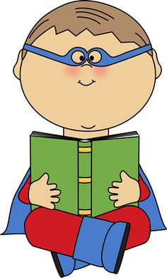 superhero reading | Boy Superhero Reading a Book Clip Art - Boy Superhero Reading a Book ...