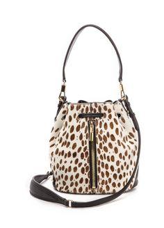 1b524fb25a41 Elizabeth And James Cynnie Haircalf Mini Bucket Bag Ivoryblack in Animal  (Ivory Black)