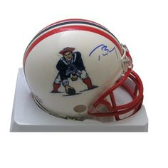 Official New England Patriots ProShop - Tom Brady Signed Throwback Mini Helmet