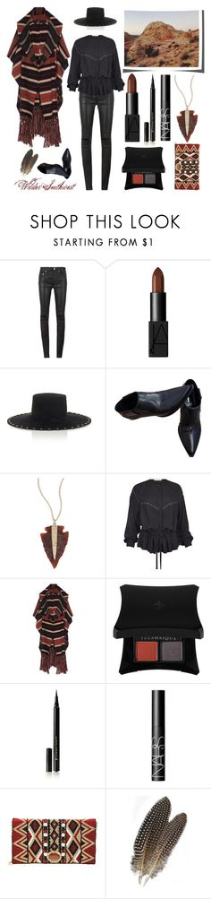 """""""Wilder Southwest:  Painted Desert Coat"""" by wildersouthwest on Polyvore featuring Yves Saint Laurent, Miu Miu, Jacquie Aiche, Illamasqua, NARS Cosmetics, Mary Frances Accessories, southwestern and southwest"""