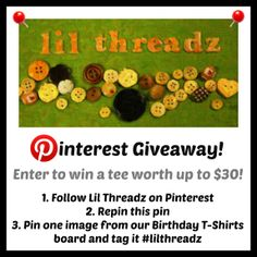 #Lilthreadz pinterest giveaway - repin this plus one from our customer t-shirt board to enter! Ends 1/27/14 Midnight PST
