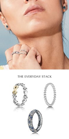 Pile on different shapes, sizes, textures and metals to create a stunning stack that adds a fun twist to your everyday look. Add a ring with a subtle pop of color to create a dazzling focal point. #PANDORA #PANDORAring #PANDORAmagazine