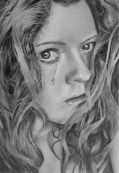 Crying Girl Pencil Drawing