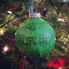 Sentimental ornament -- used a clear ornament and covered it with moving box tags from our last PCS move in the Marine Corps.  Will always look at it with great memories of our many years as a Marine family!
