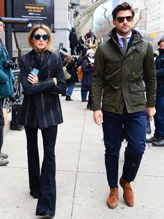 Olivia Palermo and Johannes Huebl is seen arriving at Tommy Hilfiger fashion show during Fall 2016 New York Fashion Week on February 2016 in New York City. Olivia Palermo Outfit, Olivia Palermo Style, Stylish Couple, Stylish Men, Tommy Hilfiger Fashion, Dandy, Fashion Couple, Outfit Goals, Celebrity Style