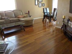 """""""I had a contractor install this floor and he did a really great job! I'm glad that I ended up going with this carbonized strand bamboo. It looks really exotic, like something you'd see in a dream home…"""" – Erica, NM [Morning Star Carbonized Strand Bamboo]"""