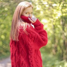 Mohair Sweater, Cable Knit Sweaters, Turtle Neck, Pullover, Knitting, Unique, Red, Dresses, Fashion