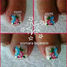 Uñas Cute Pedicures, Pedicure Nails, Toe Nail Art, Toe Nails, French Pedicure, Simple Designs, Nail Art Designs, Floral, Toenails
