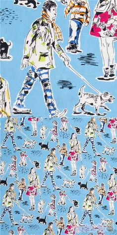 """blue cotton fabric with colourful dogwalking scenes in sketchy pen and ink style, """"Out For A Walk"""", Material: 100% cotton, Fabric Type: smooth cotton fabric #Cotton #Animals #AnimalPrint #Retro #People #Dogs #USAFabrics Michael Miller, Kawaii, Retro Fabric, Dog Walking, Fabric Patterns, Bunt, Cotton Fabric, Dogs, Animales"""