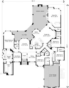 European Style House Plans - 5800 Square Foot Home , 1 Story, 4 Bedroom and 5 Bath, 3 Garage Stalls by Monster House Plans - Plan 28-187  Would take off a bathroom or two and no game room by frances