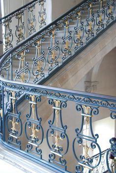 Staircase, Versailles More Interior Stair Railing, Wrought Iron Stair Railing, Staircase Railings, Staircase Design, Stairways, Steel Railing Design, Balcony Railing Design, Window Grill Design, House Outside Design