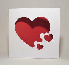 Coeurs carte en papier découpé faite maison par CandiceBourada
