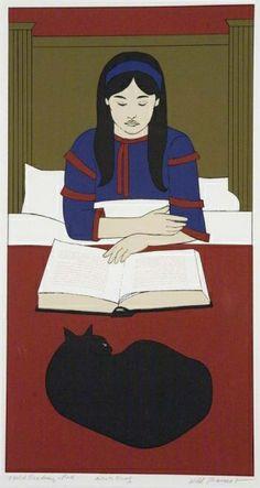 Illustration by Will Barnet, Child Reading (Red). Original Prints, Barnet, Illustration, Cat Art, Reading Art, Art, Book Art, Prints, American Artists