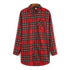 SheIn(sheinside) Red Lapel Plaid Pocket Loose Blouse ($16) ❤ liked on Polyvore featuring tops, blouses, red, plaid top, red top, red long sleeve top, red plaid top and loose fitting blouses
