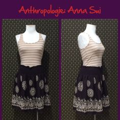 """Anthro """"Light & Ease Skirt"""" by Anna Sui Very good preloved condition. Old school Anthro, elastic waist, pull on styling. **  Prices are as listed- No offers please.  I'm happy to bundle to save shipping costs, but there are no additional discounts.  No trades, paypal or condescending terms of endearment  ** Anthropologie Skirts"""