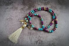 Long necklace jasper with tassel by AnnaZukowska on Etsy