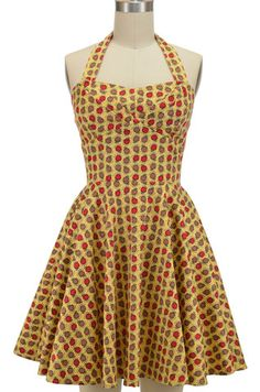 halter top sun dress with petal bust detail - an apple a day print | le bomb shop