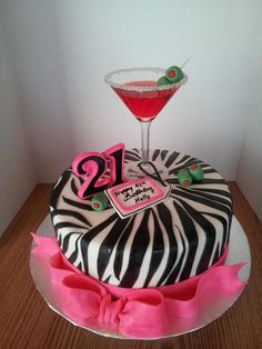 21St Birthday Cake *Hot pink and zebra striped cake with a real strawberry daiquiri jello shot in a martini glass. Fondant olives, ribbon...