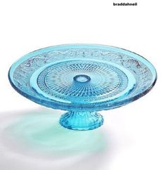 Blue-Glass-Circle-Cake-Stand-Cookie-Pie-Serving-Plate-Pedestal-Vintage-Look-Bake