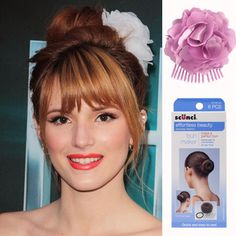 Loving Bella Thorne's look here, you can recreate this look yourself by using the Scunci Bun Maker & Bendini flower clip.