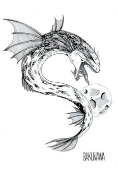 Bakunawa Baby Tattoos, Small Tattoos, Magical Creatures, Fantasy Creatures, Philippine Mythology, Red Tongue, Sea Serpent, Legendary Creature, Tall Tales