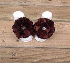 Baby Barefoot Sandals-Newborn Barefoot Sandals-Baby Flower Girl Sandals-Brown Barefoot Sandals on Etsy, $10.00