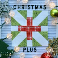 We've been all about the plus lately (as evidenced in our last tutorial, the Definitely Positive Quilt). This modern block takes on a Christmas theme with the use of red, green, and white fabric. We