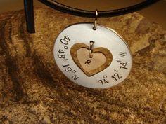 Latitude longitude aluminum pendant with heart and bronze charm