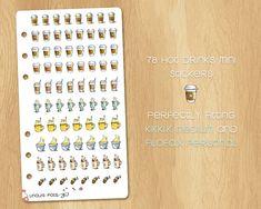 78 Mini Watercolor Stickers for Hot Beverage - Perfectly Fitting Filofax Personal and Kikki.k Medium Watercolor Stickers, Kikki K, Filofax, Beverage, Photo Wall, Medium, Mini, Unique Jewelry, Frame