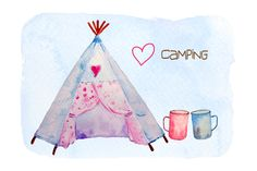 Watercolor Camping Clipart Teepee by Corner Croft on Creative Market
