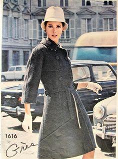 1960s  GRES  COAT, DRESS PATTERN VOGUE PARIS ORIGINAL 1616  DOUBLE BREASTED COAT, A LINE SKIRTED DRESS