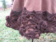 Upcycled  Bohemian Lined Brown Wool Coat With Lace