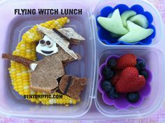 Flying Witch Lunch by bentoriffic plant based vegan bento in @EasyLunchboxes
