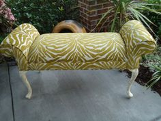 Queen Anne Bench - After Zebra Chenille Fabric works beautifully on this piece Chenille Fabric, Vintage Chairs, Queen Anne, Outdoor Furniture, Outdoor Decor, Unique Vintage, Custom Design, Bench, Trending Outfits