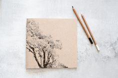 Large Notebook, Handmade Print Screen Journal with a Tree, Square Recycled Sketchbook on Etsy, $15.00