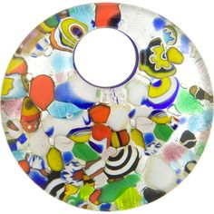 Fused Murano Glass Curved Round Pendant 50mm Silver Foil Multi