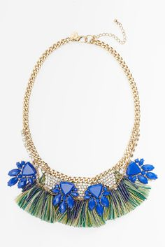 Berry Fringe Crystal Statement Necklace