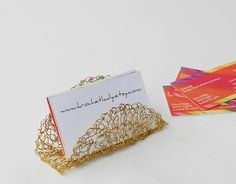 Crocheted gold tone wire business card holder | Etsy