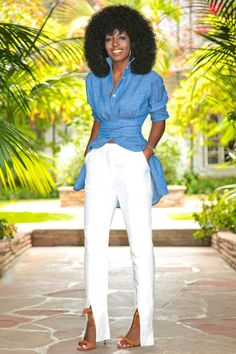 Tie Waist Denim Shirt + Front Slit Pants Outfit Details:Shirt (can be tied/worn in many different ways): Available here, here or here Fashion Pants, Fashion Outfits, Womens Fashion, Fashion Ideas, Style Pantry, Pants Outfit, Everyday Fashion, Spring Outfits, Dame