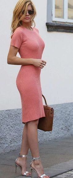 #summer #ultimate #outfits | Pink Ribbed Midi Dress Source