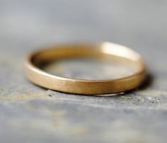 18k Gold Wedding Ring, Wedding Band, Stackable Solid Gold Ring. $375.00, via Etsy.