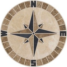 Beige & Noce Travertine with Black Slate. Mariner's compass rose mosaic medallion made from beige and noce natural travertine stone and black slate. This is a Tile Productions original and you will not find anything like this anywhere else! | eBay!