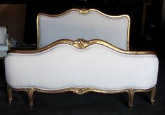 Early 20th C. Gilt French Louis XV Corbeille Upholstered Queen Bed #LouisXIIIXIVXVXVI