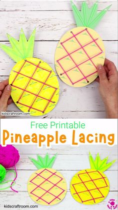 This Lacing Pineapple Craft is great for growing fine motor skills. A fun Summer threading craft for kids. Free printable pineapple template colour and b/w. Summer Crafts For Toddlers, Easy Crafts For Kids, Craft Activities For Kids, Toddler Crafts, Art For Kids, Craft Kids, August Kids Crafts, Toddler Art Projects, Spanish Activities