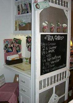Turn an old screen door into a Menu Board & Shelf. (DIY Craft Projects using Old Vintage Windows Doors)