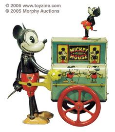 Disney tin toys, this is Distler's early 1930s Mickey Mouse Hurdy Gurdy