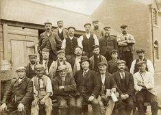 Worksop lamplighters on Portland Street, 1900
