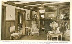 "Modern Living Room from ""The Home Beautiful"" 1915."