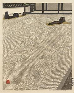 """wearejapan: """" DISCOVER: The Work of Okiie Hashimoto Okiie Hashimoto remains one of Japan's most renowned and respected woodblock printers, whose striking work pushed the boundaries of tradition in. Japanese Prints, Japanese Art, Japanese Gardens, Pintura Zen, Japanese Painting, Chinese Painting, Japanese Calligraphy, Zen Art, Woodblock Print"""
