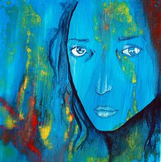 Girl with a blue face